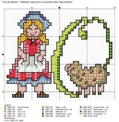 alfabeto maiuscolo con bambina stile Holly Hobbies O