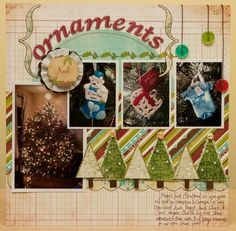 Christmas ornaments scrapbook layout