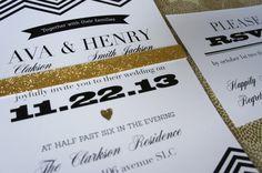 chevron & gold wedding invitation  Ava by laurenashleyclements, $2.50