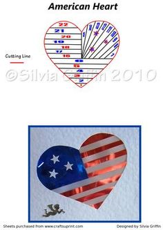 American Heart on Craftsuprint designed by Silvia Griffin - Love for the USA. Perfect card for someone serving in the military