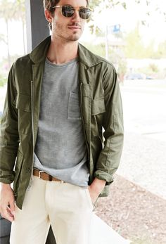 J.Crew men's Wallace & Barnes lightweight military jacket, garment-dyed T-shirt, seeded cotton twill pant in 770 fit, Syd sunglasses and braided cotton belt in light hickory.