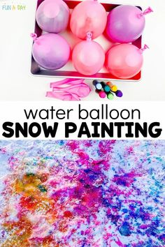 This outdoor messy art activity is full of learning and is just plain FUN!! Use water balloons to paint a vibrant canvas on the snow. It's a perfect preschool art activity, but older kids (and adults!) will love it too! Preschool Art Activities, Painting Activities, Activities For Adults, Outdoor Activities For Kids, Winter Activities, Balloon Painting, Painting Snow, Summer Camp Crafts, Camping Crafts