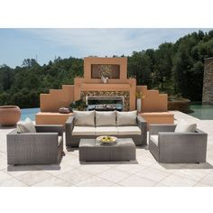 Inglewood Outdoor Wicker 4 Piece Deep Seating Group with Cushion