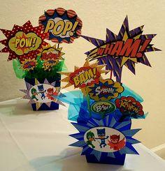 PJ Masks Centerpieces  Craftsbymeli@gmail.com