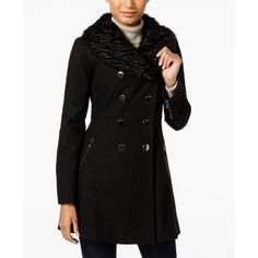 Guess Faux-Fur-Collar Double-Breasted Peacoat (3,885 MXN) ❤ liked on Polyvore featuring outerwear, coats, black, double breasted peacoat, pea coat, guess coats, pea jacket and faux fur trim coat