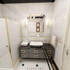 We created a sophisticated atmosphere. Double Vanity, Toilet, Art Deco, Bathroom, Home, Design, Ideas, Quartos, Bath