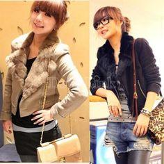 $ 8.22 Women's Long Sleeve Zippered Wool Jacket Short Suit Coat Outerwear