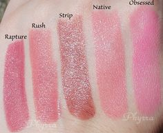 Urban Decay Revolution Lipsticks, Rapture, Rush, Strip, Native, Obsessed, Swatches, Review