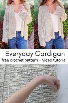 Beginner Crochet, Crochet Patterns For Beginners, Crochet Videos, Learn To Crochet, Free Crochet, Crochet Cardigan Pattern, Crochet Jacket, Simple Crochet, Double Crochet