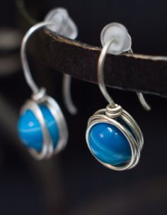 elegant small #blueagate earrings for every woman, great natural gemstone, agate shaded from blue to white, in #silver or silver plated wire, designed to enhance the #beauty of her eyes 1 inch long These earrings would be an original #gift suitable for any occasion for your best friend, mother, sister, wife or just as thank you gift Handmade Gifts For Her, Handmade Jewelry, Unique Jewelry, Christmas Gifts For Women, Love To Shop, Birthday Gifts For Her, Minimalist Jewelry, Shopping Mall, Decoration