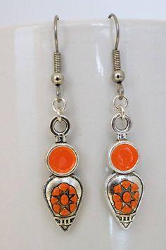 Painted Earrings-Boho Earrings-Orange Earrings-Dangle & Drop Earrings-Modern Earrings-Fashion Earrings-Handcrafted Earrings-Gift for Her by IvanRoseCreations on Etsy