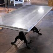 Beautiful zinc topped dining table from Bastille Metal Works
