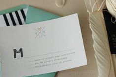 Oh So Beautiful Paper: Modern Nautical Black + White Wedding Invitations