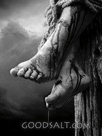Jesus' Feet Nailed to the Cross.