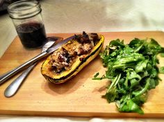 Kale and sausage stuffed delicata squash: Fall Recipes, New Recipes, Dinner Recipes, Healthy Recipes, Dinner Ideas, Delicata Squash Recipe, Nightshade Free Recipes, My Favorite Food, Favorite Recipes