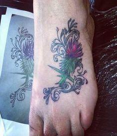 Thistle Foot Tattoo - Tattoo Shortlist