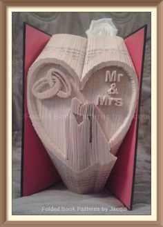 Mr & Mrs Wedding Heart Cut and \fold Book Folding Pattern by JHBookFoldPatterns on Etsy