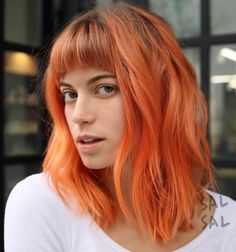 Pastel Orange Lob With Bangs