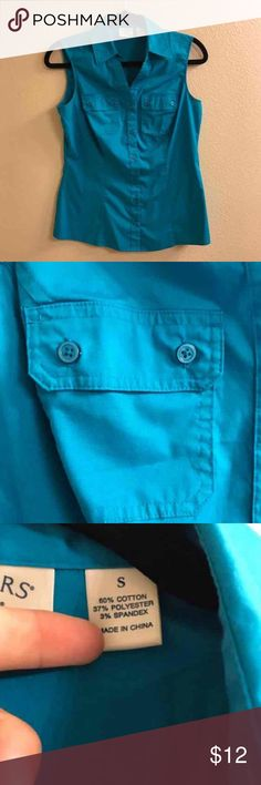 Lee riders teal button up sleeveless blouse Like new. Never worn. Has two front chest pockets. lee riders Tops Button Down Shirts