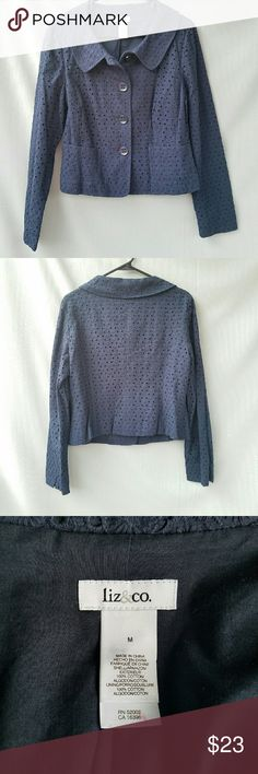 Liz&co Navy Eyelet Jacket Excellent condition Feel free to ask me any additional questions. Bundles 3+ are 15% off. Happy Poshing! Liz Claiborne Jackets & Coats