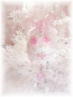 Large Soft Pink Glass Ball Ornament ~ Hand Painted Roses