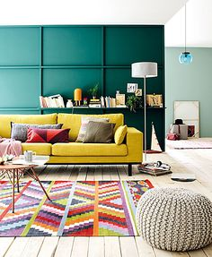Green wall, Yellow Sofa and Bright Colored Carpet | Picsdecor.com                                                                                                                                                                                 More