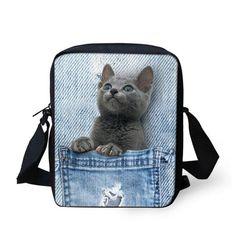 Brand Designer Women Messenger Bags Dog Cat Denim Print Girls Kids Cross Body Bag Cute Pug Bulldog Crossbody Shoulder Bag Woman