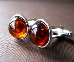 Amber Cufflinks in Silver Plated settings