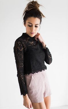 Ily Couture Lace Detail Crop - Black