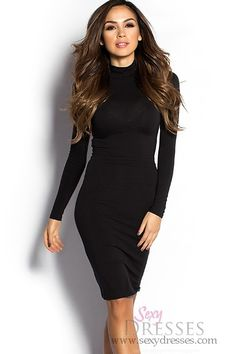 Shamika Black Long Sleeve Sleek High Neck Bodycon Midi Dress