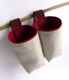 @Jess Liu Sutton Gregath - kitchen towel laundry bags?? :) Hanging fabric basket wall pocket natural gray red by granatina, $35.00