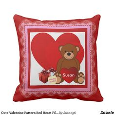 Cute Valentine Pattern Red Heart Pillow Adorable as a gift or for home decor, I love this