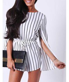 Stylish Round Neck Long Sleeve Slit Striped Women's Romper