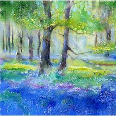 Bluebell Wood Giclee Print, Taken From An Original Watercolour Painting By Sheila Gill. Watercolor Trees, Watercolor Artists, Watercolor Landscape, Floral Watercolor, Landscape Paintings, Watercolor Paintings, Watercolors, Flower Landscape, Classic Paintings