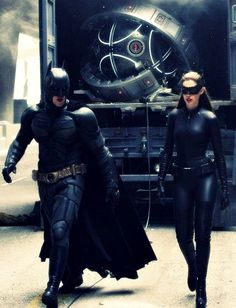 BTS of TDKR: Christian Bale as Batman and Anne Hathaway as Catwoman