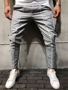 Ankle Pants Front and Side Stripes - Gray - Pants - mens streetwear Trouser Pants, Ankle Pants, Men Looks, Style Masculin, Mode Jeans, Mens Joggers, Destroyed Jeans, Outfit Combinations, Men's T Shirts