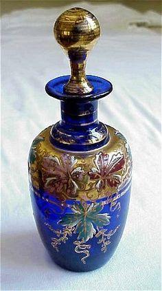 Beautiful Moser Blue Enamel Decorated Perfume Bottle | eBay♥≻★≺♥