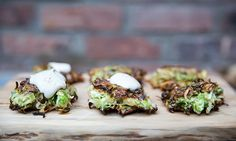 brussels sprout latkes | maple mustard yogurt