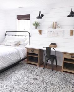 Are you searching for ideas for farmhouse bedroom? Browse around this site for unique farmhouse bedroom images. This cool farmhouse bedroom ideas will look amazing. Guest Room Office, Guest Rooms, Spare Bedroom Office, Kids Bedroom, Ideas For Spare Bedroom, Kids Rooms, Basement Office, Guest Room Decor, Master Bedrooms