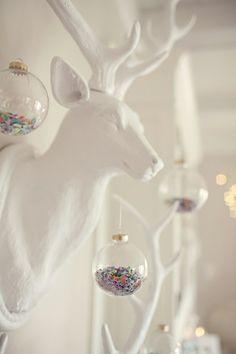 Confetti or glitter inside clear baubles #Rebeccajewelry