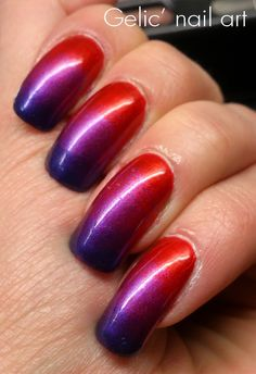Gelic' nail art: Gradient in red and purple - - nails purple Funky Nail Art, Funky Nails, Love Nails, Violet Nails, Red Nails, Purple Nail Designs, Nail Art Designs, Wedding Wallpaper, Halo Nails