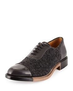 The Office of Mister Scott The Smythe, Wool & Leather Cap Toe Oxford, Carbon