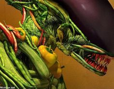 "Detail: ""Salad"" (Tribute to H. Giger and Giuseppe Arcimboldo) by Till Nowak Food Puns, Food Humor, Veggie Monster, Giuseppe Arcimboldo, Drinking Memes, Creepy, Eye Candy, Food And Drink, Tasty"