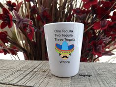Cinco De Mayo Shot Glass, Funny Mexican, Sombrero , May 5th, Tequila Whore, Party barware on Etsy, $5.00
