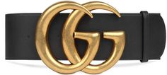 """Wide leather belt with Double G  DETAILS A wide leather belt with Double G buckle, Alessandro Michele's take on the classic GG logo. Black leather Brass hardware Double G buckle 2.75"""" width Made in Italy Gucci belts are in Italian sizes, please refer to the belt size guide before placing an order"""
