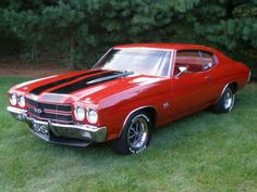 This 1970 Chevrolet Chevelle SS - Red on Red is one of the rarest Chevelles . Very, very rare color combination on an Chevelle: Red on Red absolutely stunning in person. Chevy Chevelle Ss, Chevrolet Ss, 1970 Chevelle Ss 454, Chevy Ss, Classic Chevrolet, Chevy Pickups, Automobile, American Graffiti, Chevy Muscle Cars