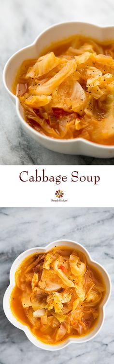 Cabbage Soup! A simple, healthy, nourishing soup with cabbage, chicken stock, onions and tomatoes. On SimplyRecipes.com
