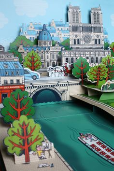 Paris Map, Paris City, Paris Illustration, Illustrations, Paper Design, Book Design, Libros Pop-up, Tunnel Book, 3d Paper Crafts