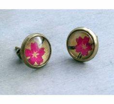 Jaded Seas stud earrings - fushia blooms on gold Fish Design, Online Gifts, Seas, Jade, Cufflinks, Gemstone Rings, Bloom, Charmed, Stud Earrings