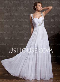 A-Line/Princess Sweetheart Floor-Length Chiffon Mother of the Bride Dresses With Ruffle Beading (008014908) - JJsHouse